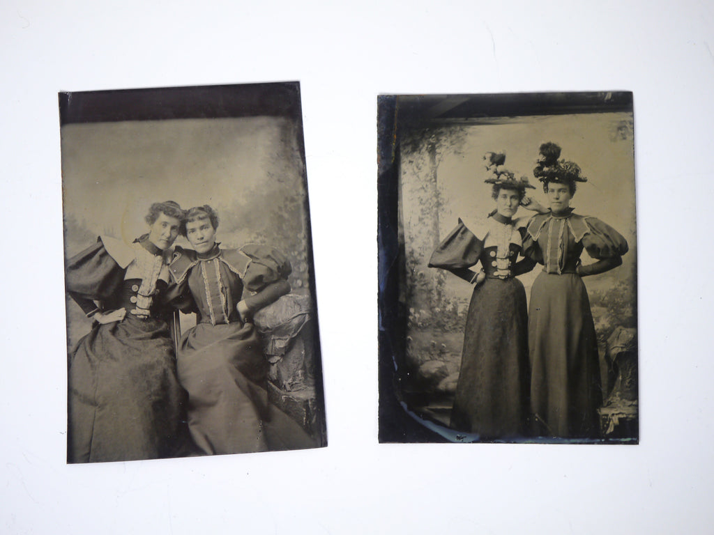 Antique Tintype photographs Fashion Lady set of 2
