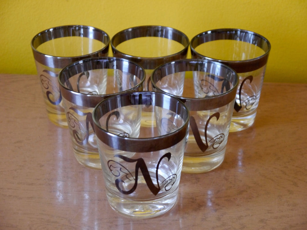 Vintage Mid Century Glassware - Silver Rimmed with Monogrammed N Rocks Glasses - Set of 6