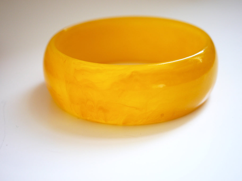 Bakelite Bangle Bracelet Marbled Yellow Wide
