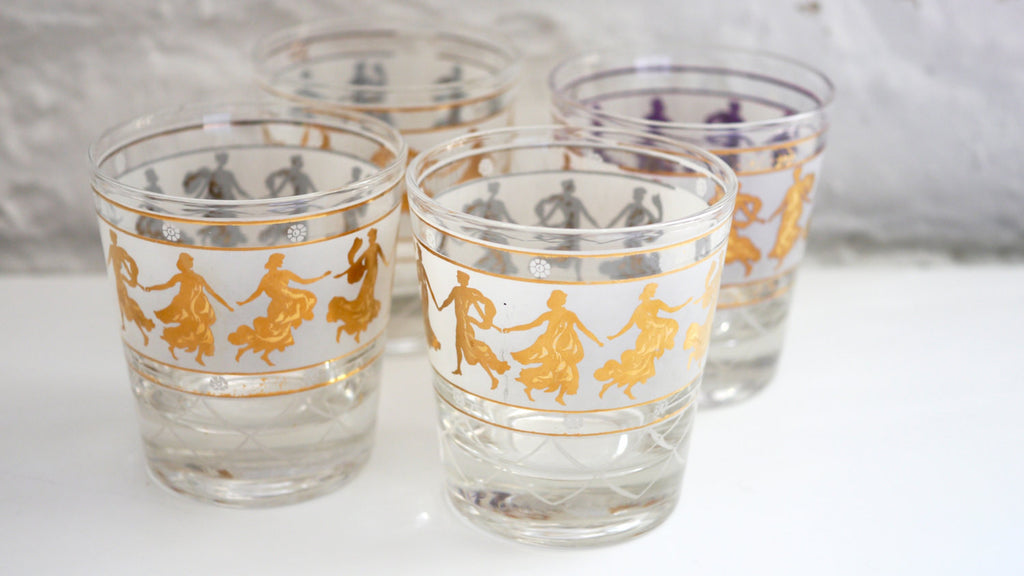 Vintage Mid Century Glassware - Lowball Glasses with Greek Motif in White and Gold Set of 4