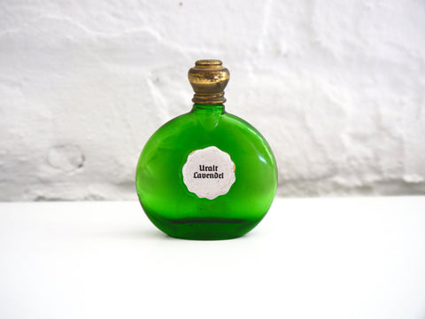 Vintage Lohse Uralt Lavendel small perfume bottle green glass
