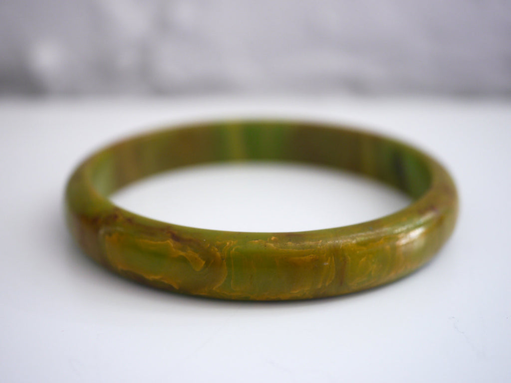 Bakelite Bangle Bracelet Marbled Green Brown End of Day