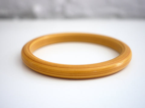 Bakelite Bangle Bracelet Carved Yellow Bamboo Look