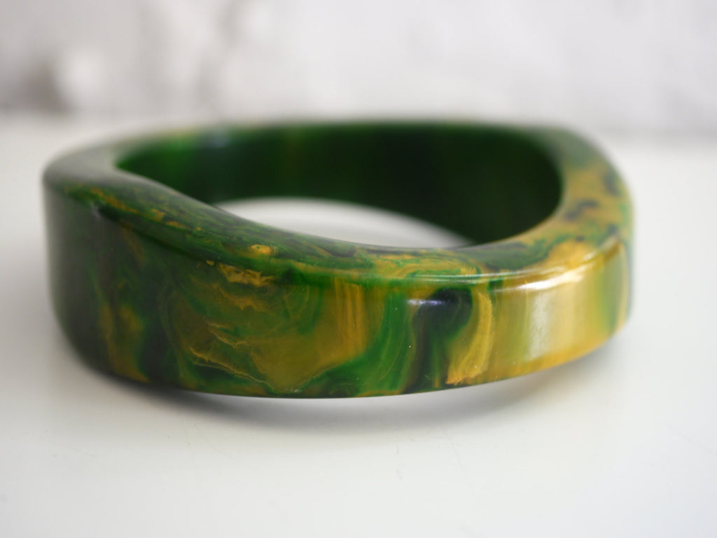 Bakelite Bangle Bracelet Asymmetrical Chunky Marbled Green Spinach