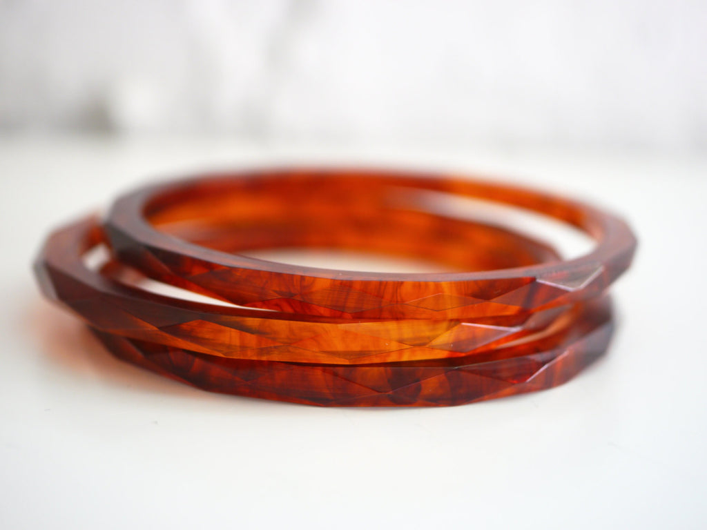 Bakelite Bangle Bracelet Marbled Spacer Set of 3 Faceted Root Beer Tortoise