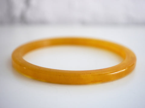 Bakelite Bangle Bracelet Prystal Spacer Apple Juice Orange Yellow