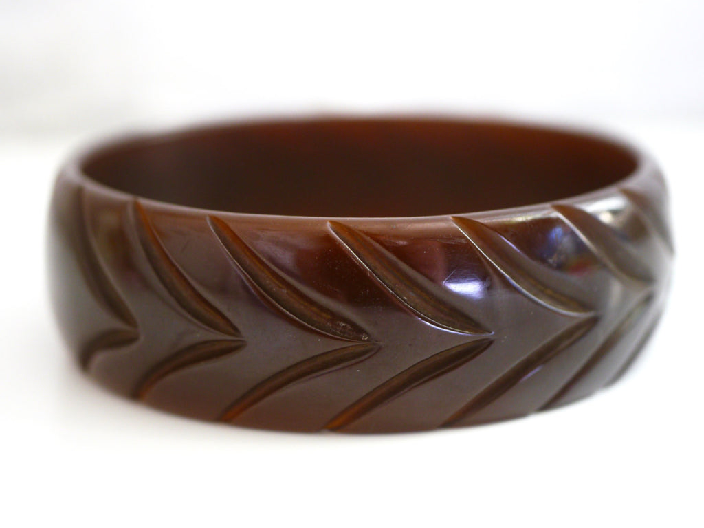 Bakelite Bangle Bracelet Carved Chocolate Brown Chevron