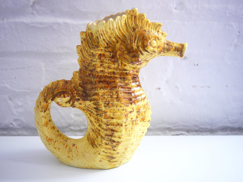Yellow Speckled Seahorse Watering Can or Pitcher Mid Century