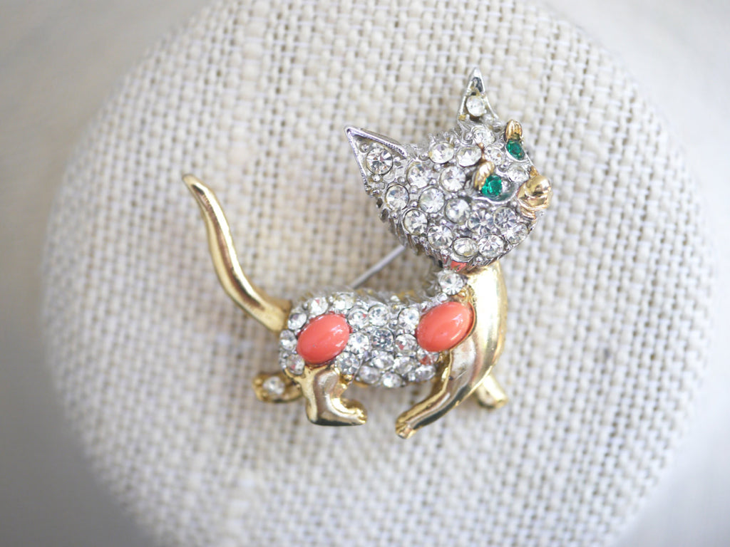 Pell Rhinestone cat brooch
