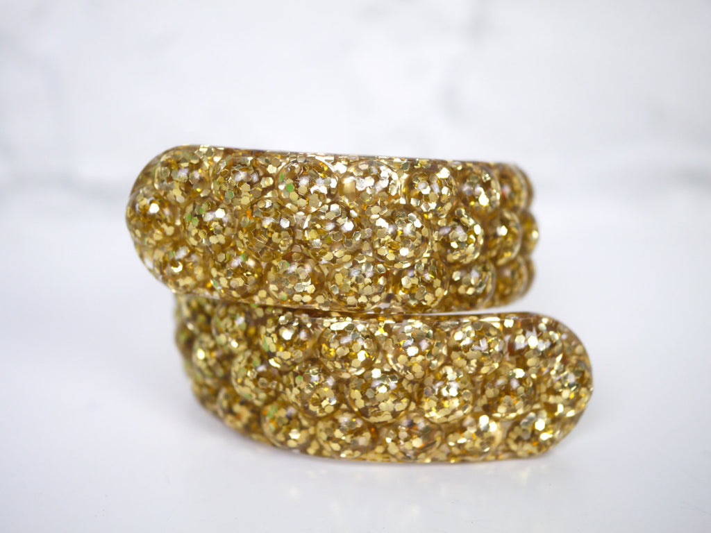 Lucite Gold Confetti Glitter Bracelet Clamper Bypass Textured