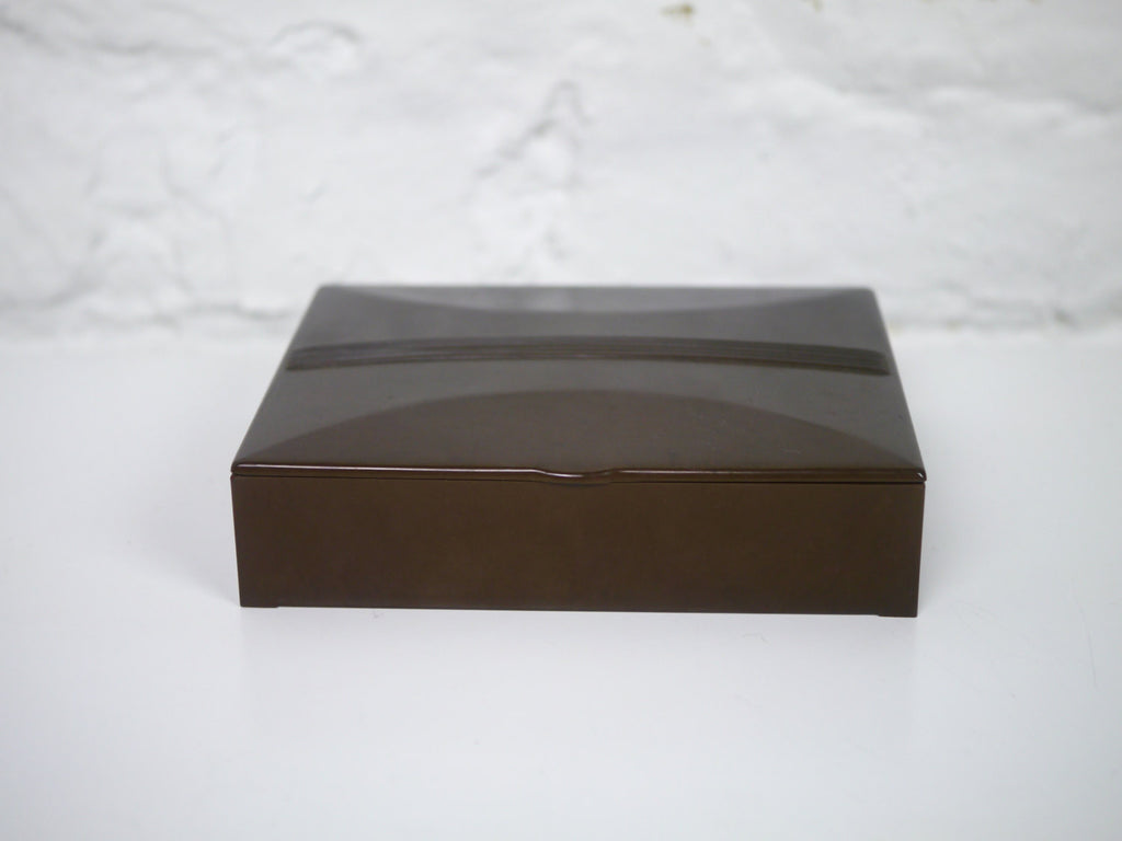Bakelite Trinket or Jewelry Box Olive Green with Satin Lining