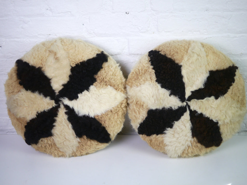 Vintage Pillows - Pair of Round Llama Fur Pillows in Beige Brown and Tan with Star Pattern