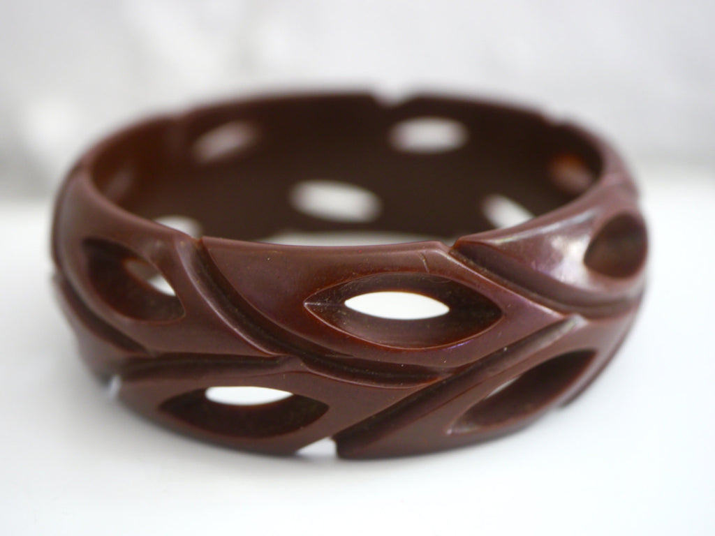 Bakelite Bangle Bracelet Carved Pierced Chocolate Brown