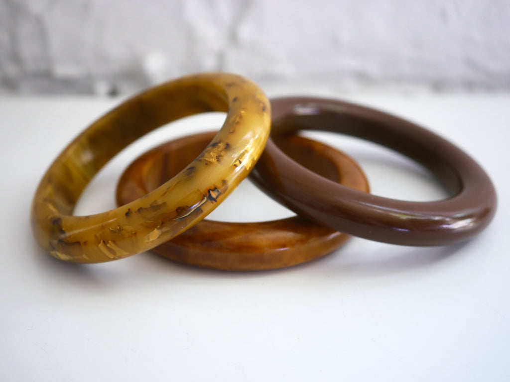 Bakelite Bangle Bracelet Tubed Set of 3 - Marbled Chocolate Brown Toffee Mississippi Mud