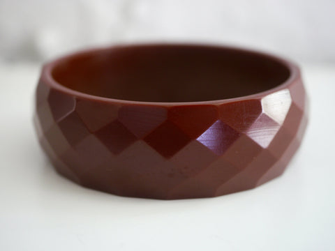 Bakelite Bangle Bracelet Faceted Chocolate Brown