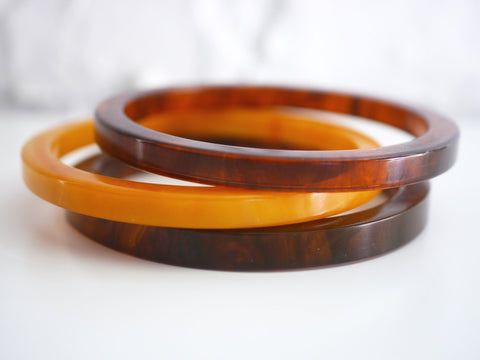 Bakelite Bangle Bracelet Spacer Set Marbled Pumpkin and Root Beer Slice