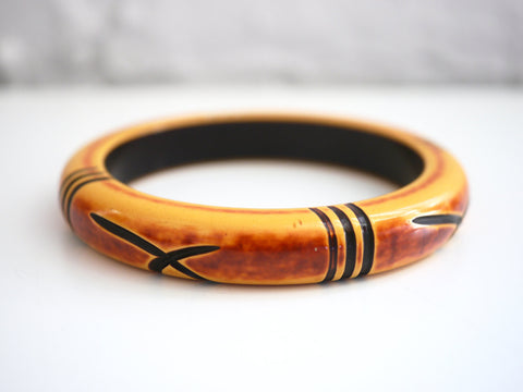 Bakelite Bangle Bracelet Carved Yellow Black Bamboo