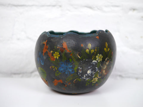 Vintage Planter Rustic Coconut Shell Painted Floral