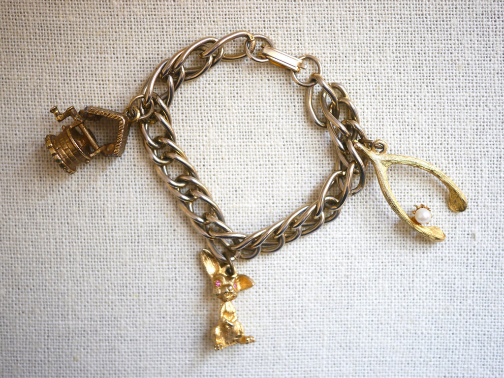 Vintage Charm Bracelet Good Luck wishbone, bunny rabbit, wishing well