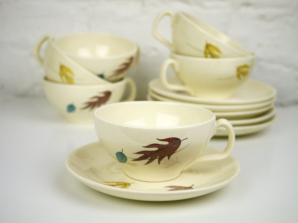Franciscan Earthenware Autumn Leaves Teacups and Saucers Set of 6 Mid Century