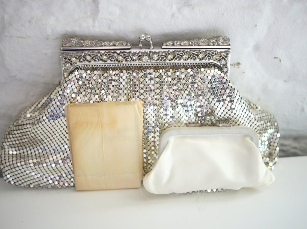 Whiting and Davis Silver Mesh Rhinestone Clutch Purse with original mirror and coin purse