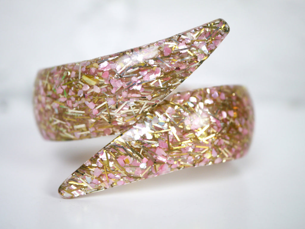 Lucite Bracelet Pink Gold Glitter Confetti Clamper Bypass