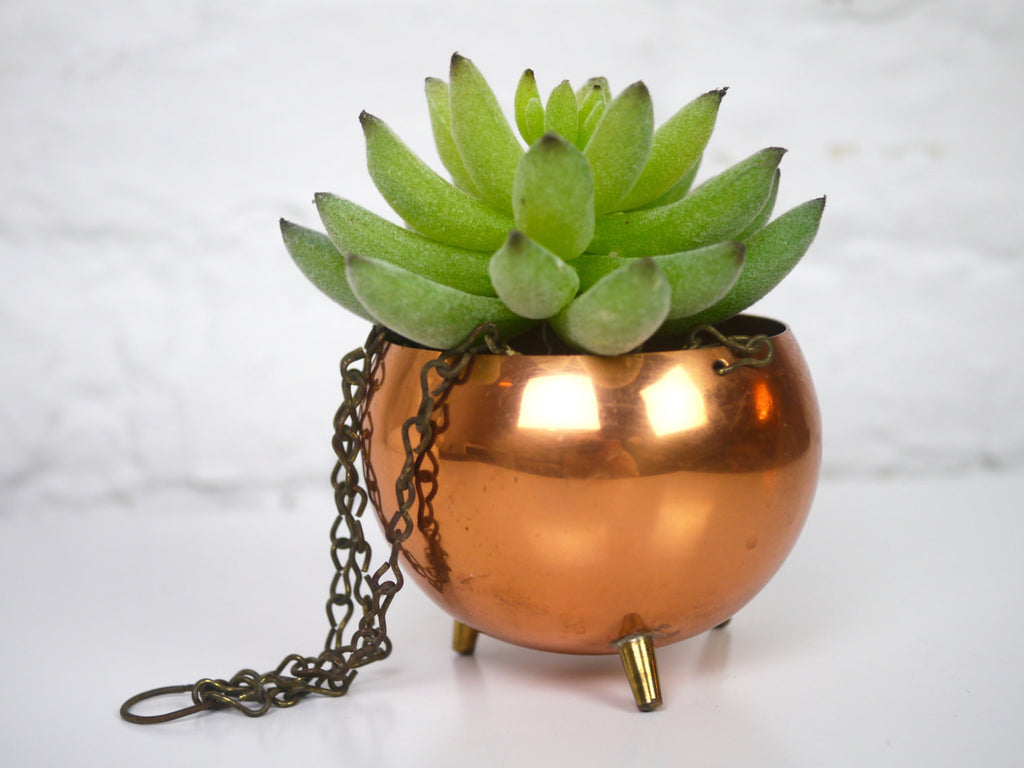 Small Copper Hanging Planter round feet Mid Century Planter Cauldron