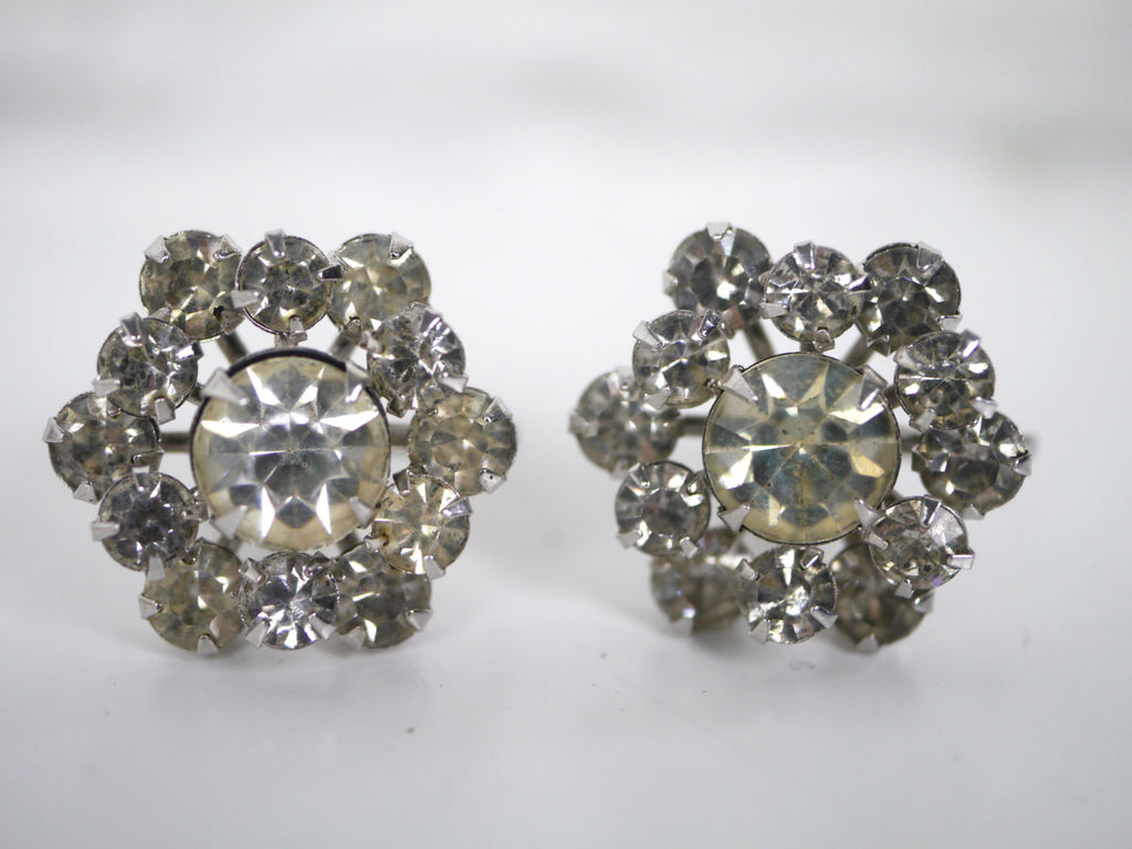 Coro Rhinestone Screw Back Earrings Flower Snowflake