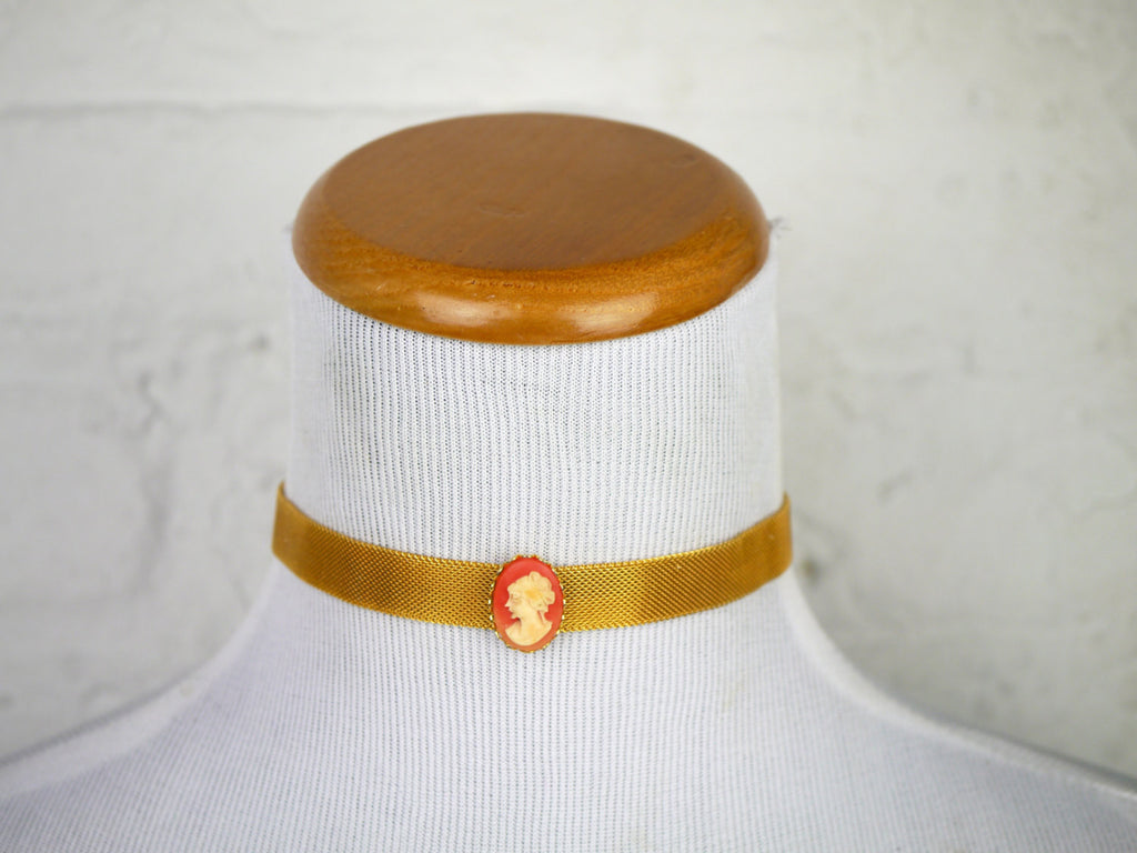 Karu Cameo Choker Necklace Gold Mesh Victorian Revival