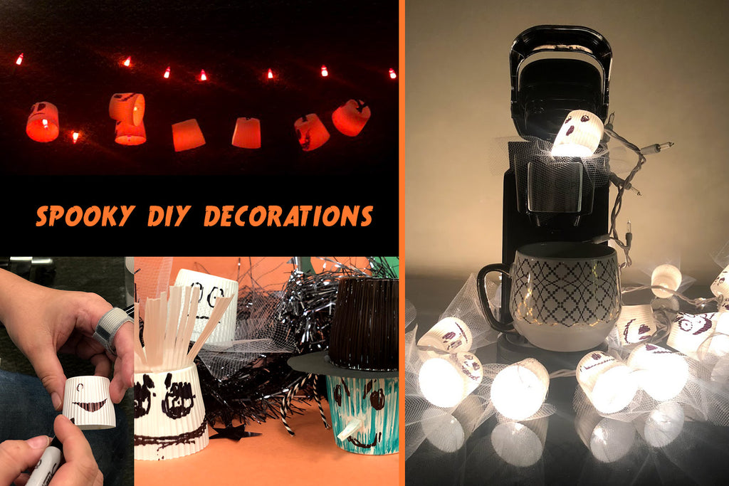 DIY Halloween Decorations - Recycled Coffee Pod Ghost & Pumpkin Lights