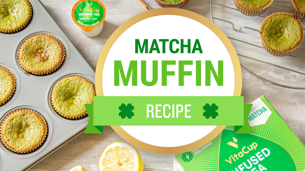 Healthy St. Patrick's Day Matcha Lemon Muffins
