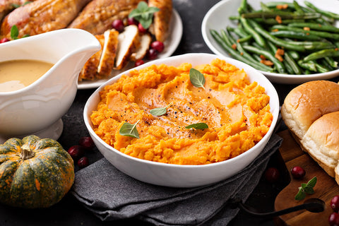 [Recipe} Mashed Sweet Potato with Tahini and Coffee Glaze