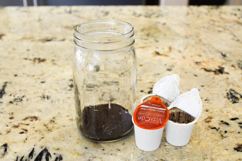 Step 3 in how to make VitaCup Cold brew is Dump the Grinds in your jar.