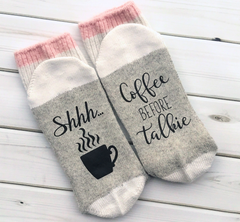 Cute novelty coffee socks are a great gift idea for your coffee lover.