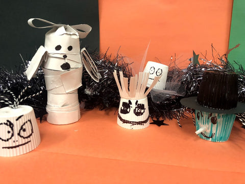Mummy & ghost DIY decorations and crafts from recycled coffee pods.