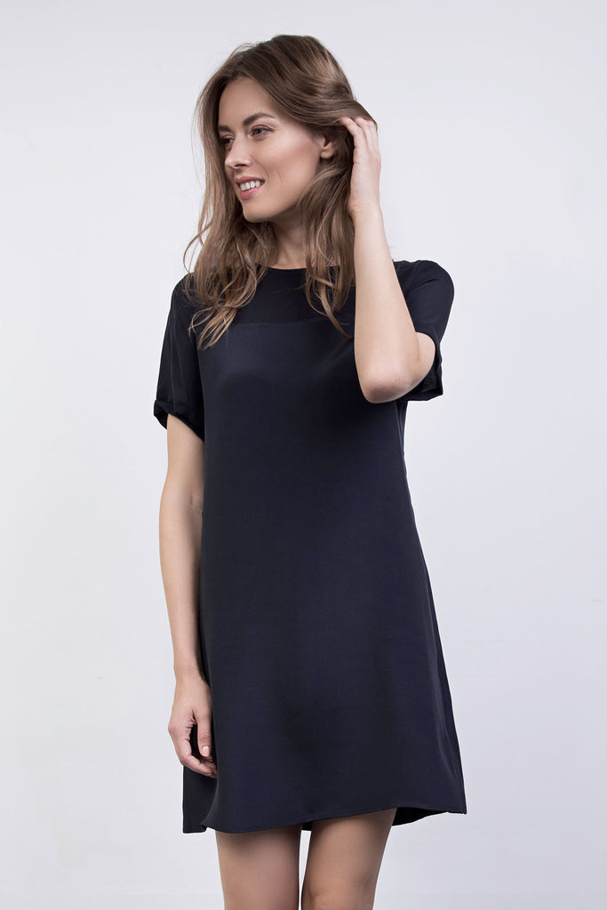 The Heather Navy Silk Shift Dress