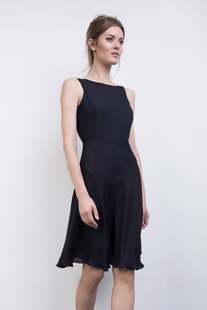 The Charlotte Navy Silk Backless Dress