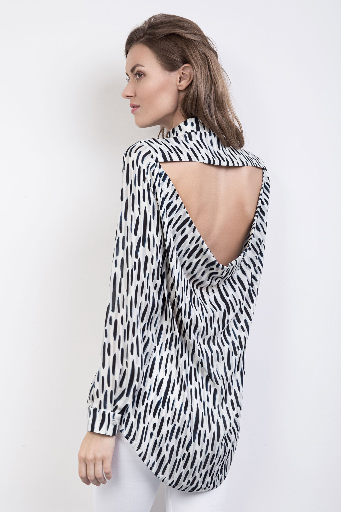 The Ali Silk Print Backless Shirt