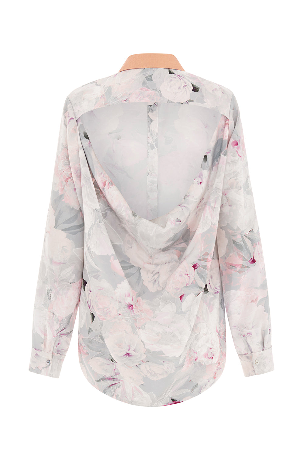 The Rose Silk Print Backless Shirt