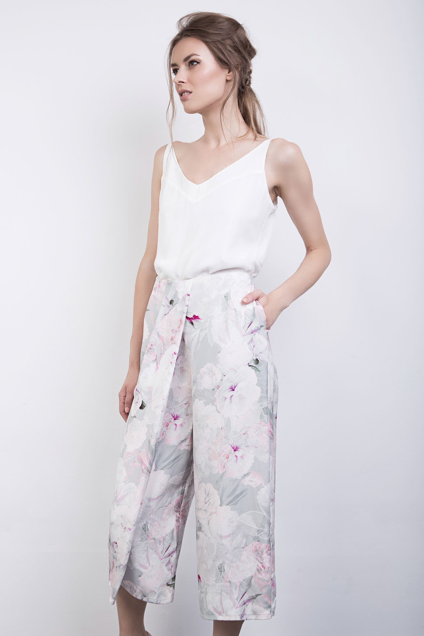 The Kitty Floral Silk Drape Front Culottes