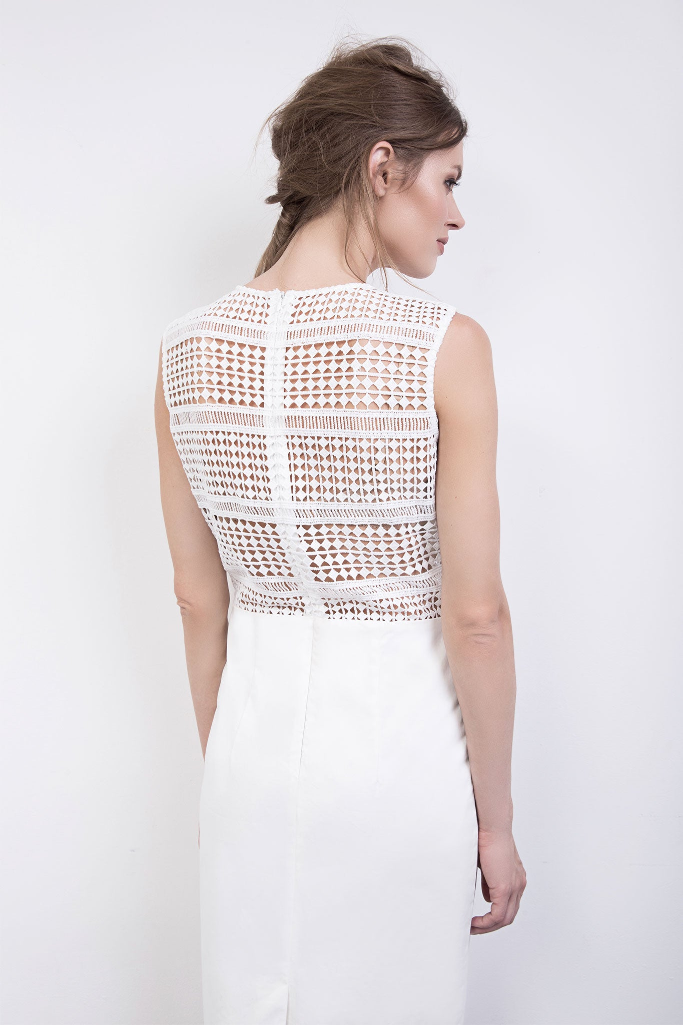The Chloe Cream Cotton Lace Dress