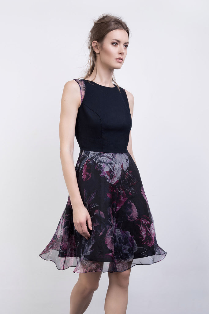 The Harriet Floral Print Organza Dress