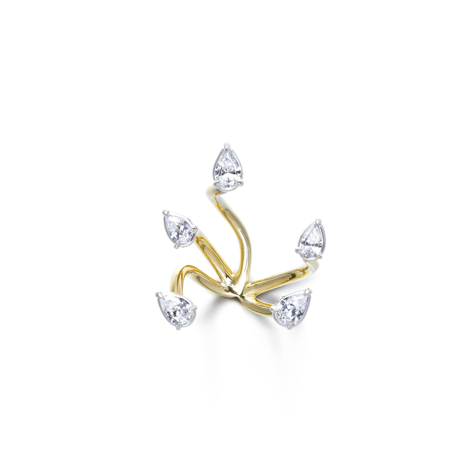 Pear-shaped white diamonds floating cuffs