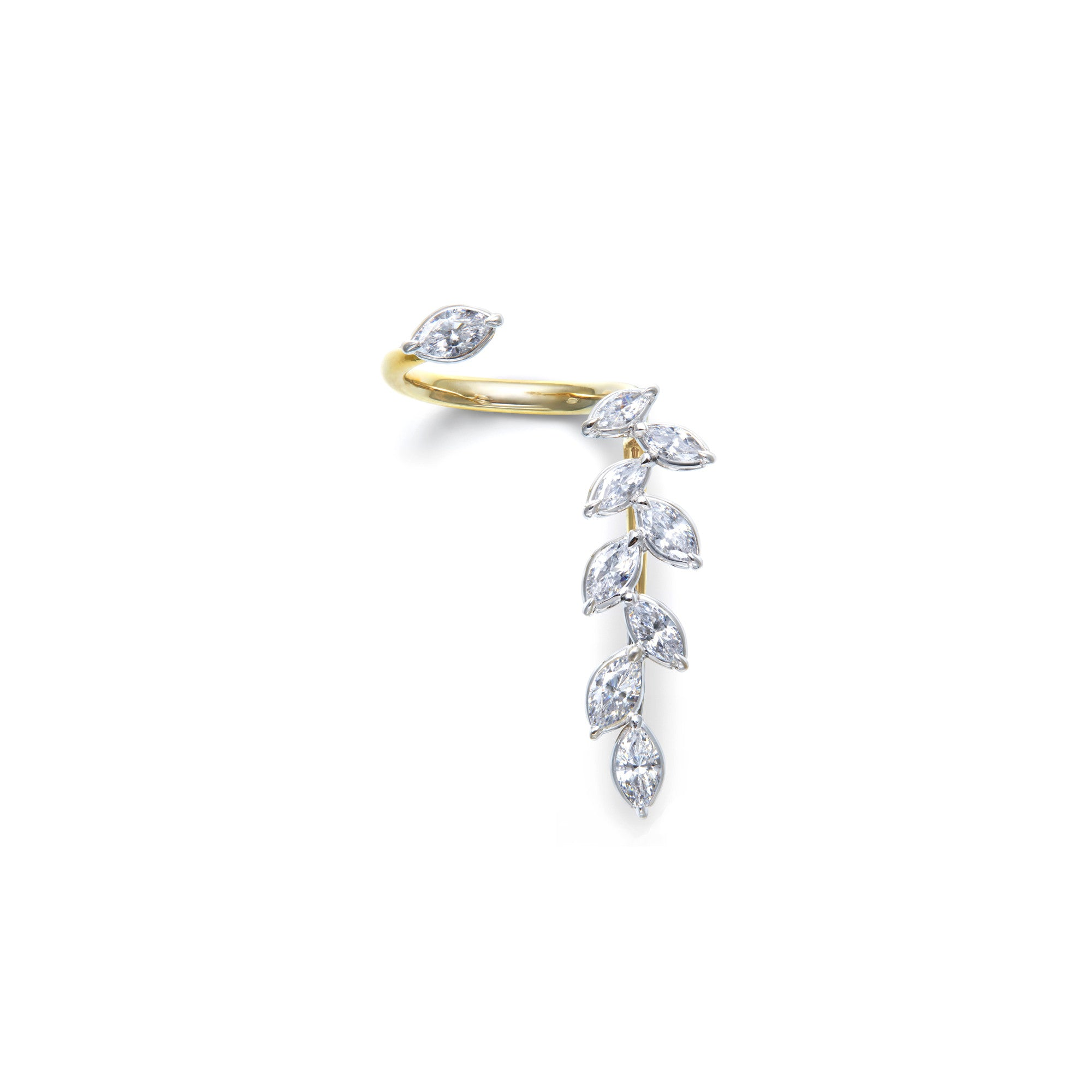 Marquise-shaped white diamonds floating cuffs