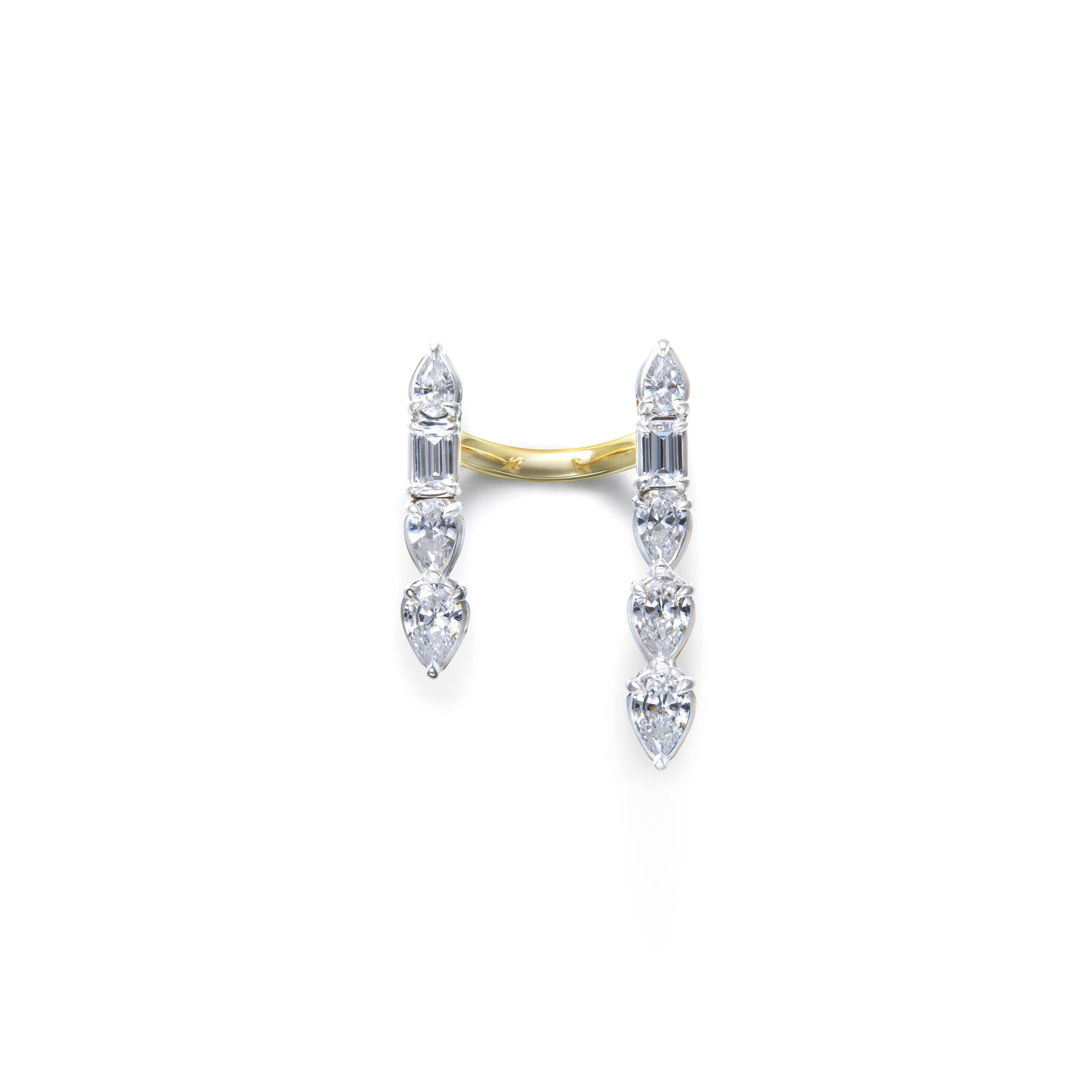 Pear- and baguette-shaped white diamonds floating cuffs