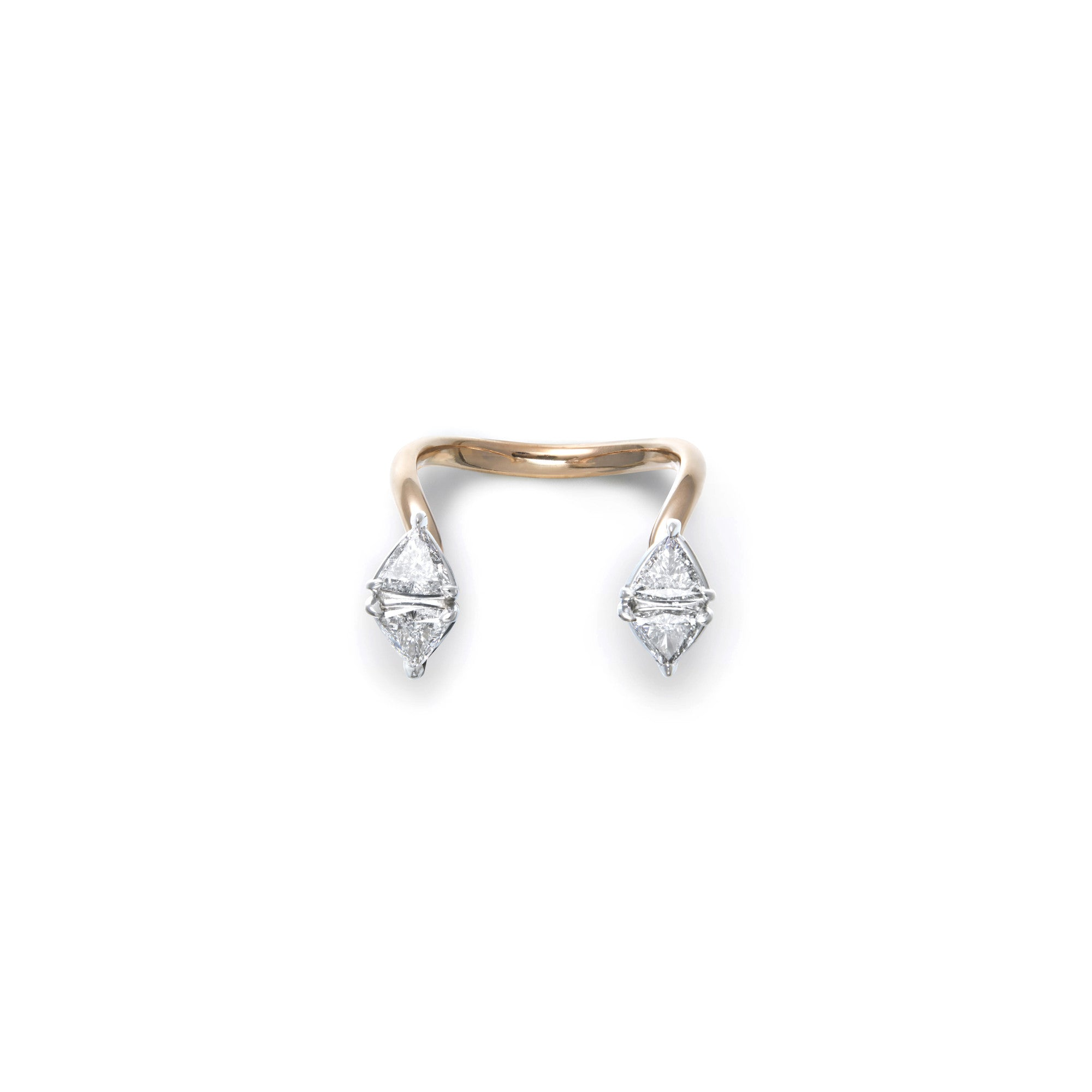 Triangle-shaped white diamonds floating cuffs