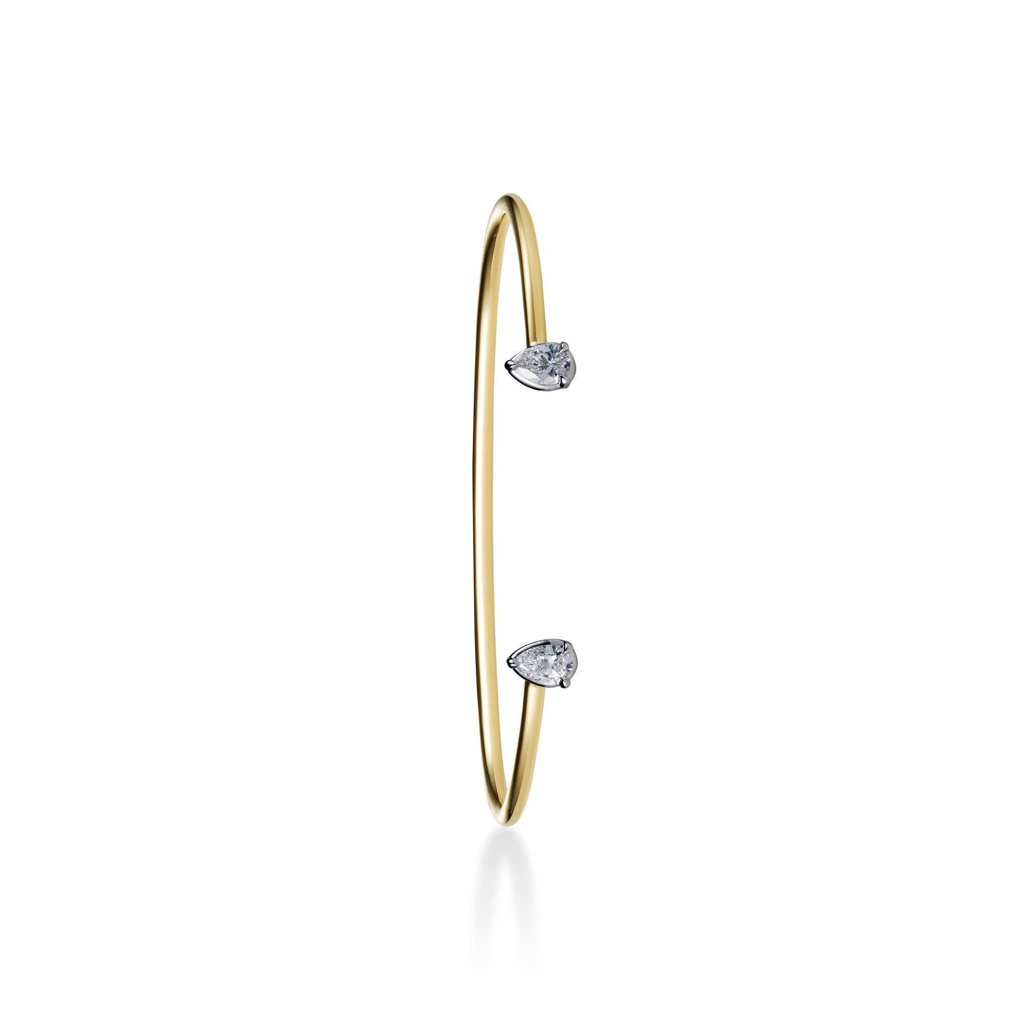 Floating Bangle with pear-shaped diamonds