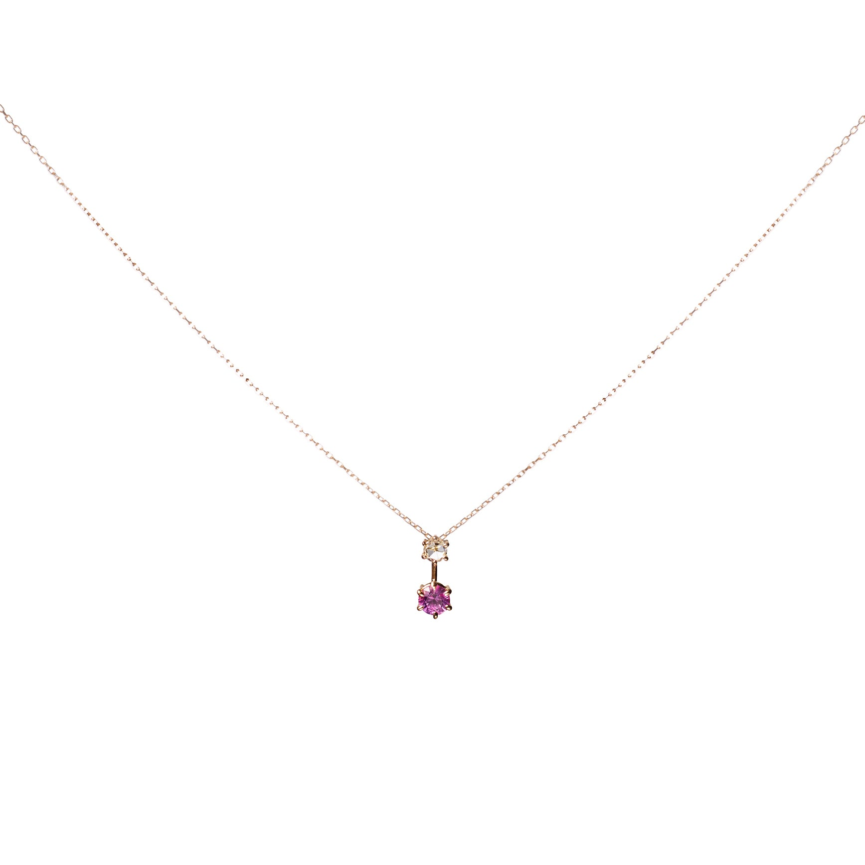 Pink sapphire and rose-cut diamond pendant