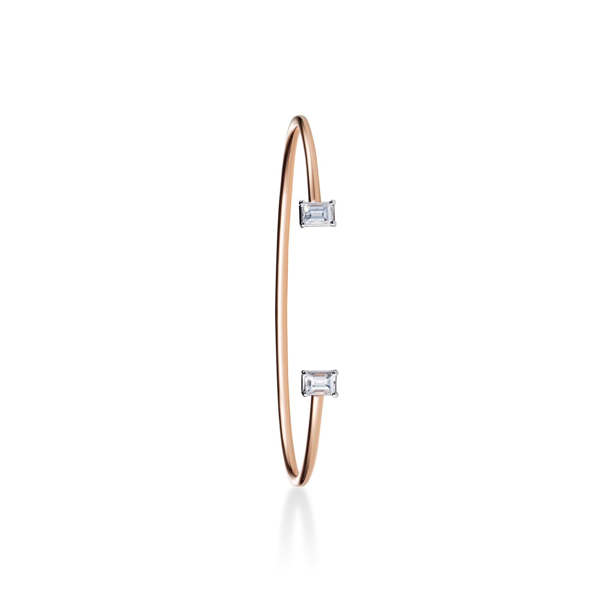 Floating Bangle with square-shaped diamonds