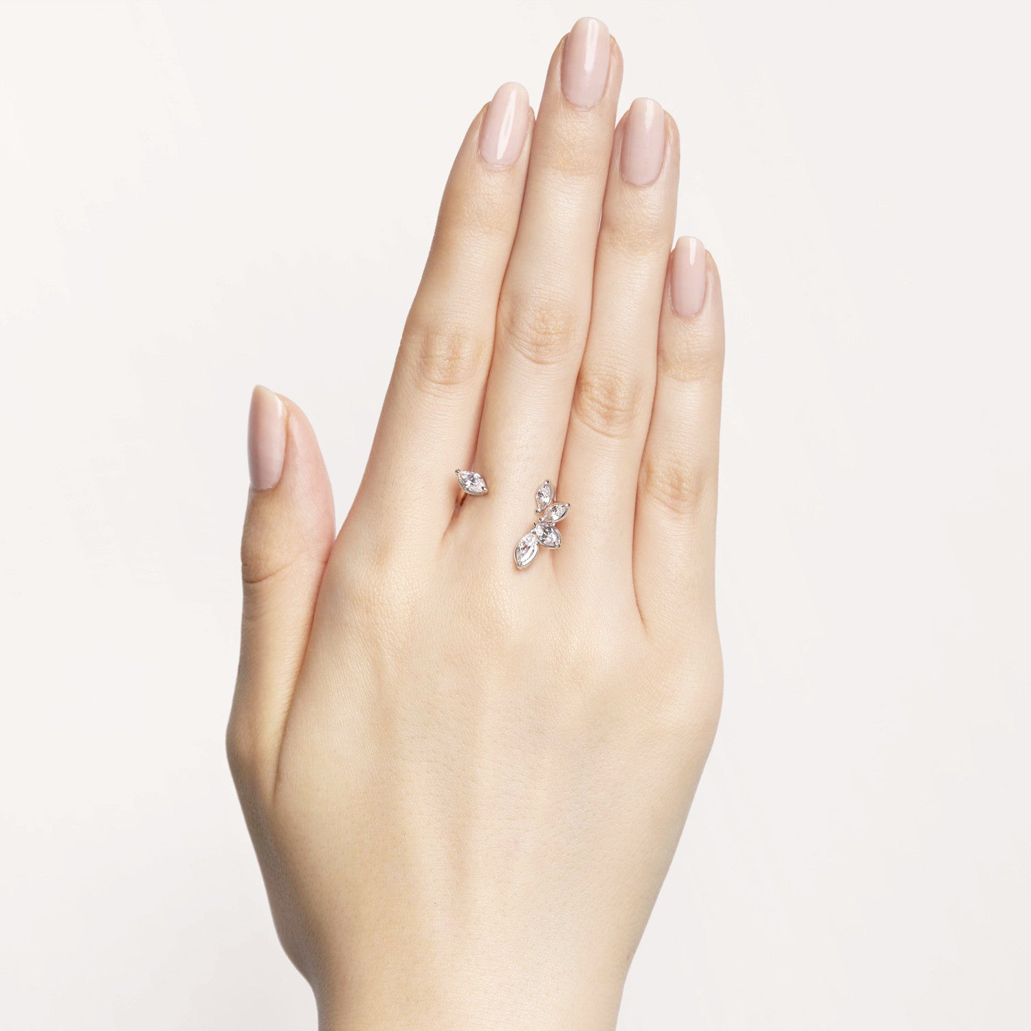 Marquise-shaped white diamonds floating cuffs on your skin